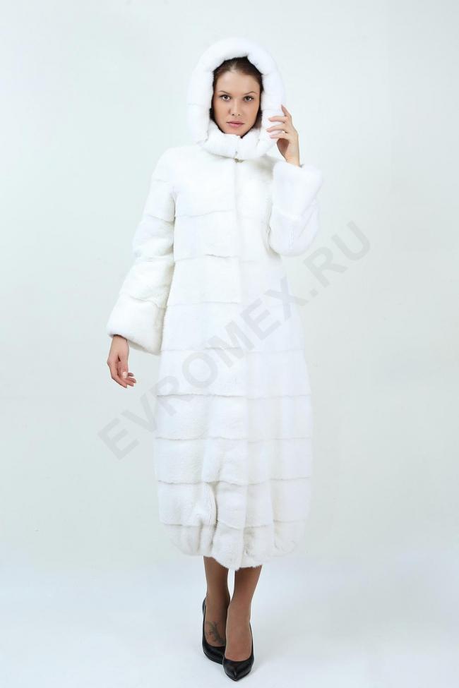 Пальто из норки с капюшоном